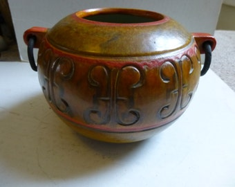 Amazing Alvino Bagni ceramic vase with iron rings - glorious oranges and yellows inside and out - originally sold by Raymor