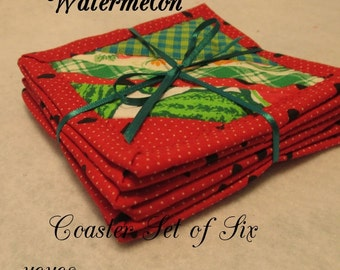 WATERMELON COASTERS Set of Six Home Cottage Shabby Chic Décor Summer Gift