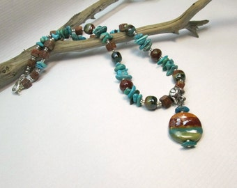 Genuine Kingman Turquoise and Kazuri Bead Boho Necklace