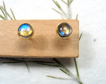 4 mm cabochon Labradorite , solid 9k yellow gold studs earrings, Mother day earrings