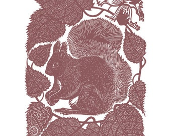 Linocut of a Red Squirrel with beech nuts