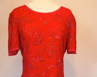 Vintage 80s Frank Usher Red silk sequin and beaded top blouse size UK 12