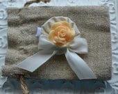 Baby Girl/ Toddler girl hair clip/ barrette/ hair bow/ alligator clip- Ivory and peach cabochon flower