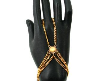 Gold Slave Chain Bracelet - Bohemian Slave Chain Bracelet - Hand Web Slave Bracelet - Stone Pendant Slave Chain Bracelet - CLEARANCE