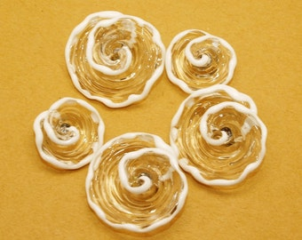 Pearly Karpel Lampwork Clear and White Flower Bead (1) SRA