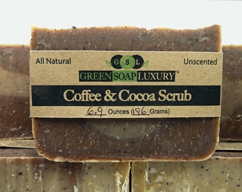 Coffee and Cocoa Scrub Bar (6.2 to 6.6 oz.) - ALL NATURAL, Handmade, UNSCENTED, Vegan, Cold Process Soap, Anti-Cellulite, Skin-Exfoliator