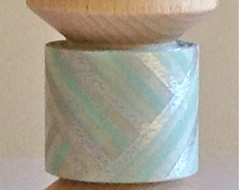 """SALE Designer Washi Tape Mini Spool """"Abstract lines"""" in Baby Blue and Silver by""""mt""""  2 yards"""