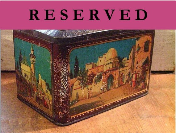 Early Vintage Colmans Mustard Tin with North Africa Theme Tunis Algiers Turquoise Blue
