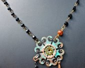 10% off on this item - Copper patina modern cut out pendant with vintage black rosary beads turquoise bead necklace