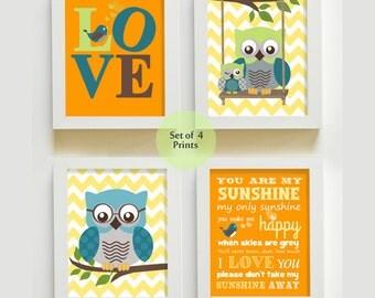 Nursery Art - You are My Sunshine Prints for Nursery or Kids Room,  Baby Nursery Decor, set of four