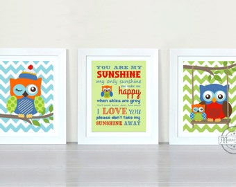 Owl Nursery Wall Art  - You Are My Sunshine My only Sunshine Print - Owl Art for Kids Room, Kids Wall Art Baby Boy Nursery, Owl  Decoration