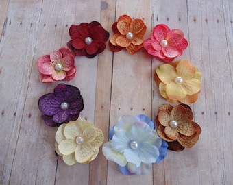 Set of two Petite Hydrangea Flower Headbands  Photo Props...Set of Two...  Baby girl headbands...