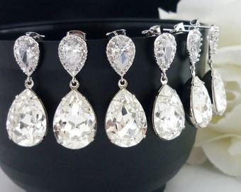 10% OFF SET of 5 Bridesmaid Gift Bridesmaid Jewelry Wedding Bridal Jewelry Clear White Swarovski Crystal Tear Drop Earrings Cz Earrings