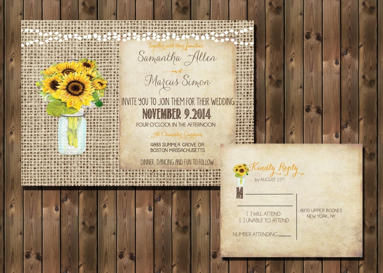 Sunflower Rustic Wedding Invitation With Lights Mason Jar And Burlap Background Digital File 1296
