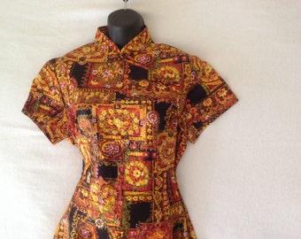 Vintage Asian style dress / long Asian dress / short sleeve Asian dress / cotton dress / Kolina label