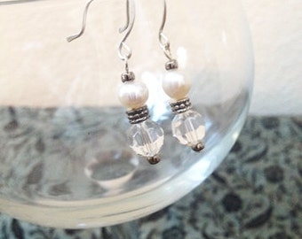 SALE Freshwater Pearl Swarovski Clear Crystal Round Bead Dangle Earrings Elegant Bridal Christmas Holiday Bridal Jewelry Gifts Under 10