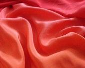 Fabulous Papaya and Strawberry Ombre Silk Fabric - Fabric By The Yard