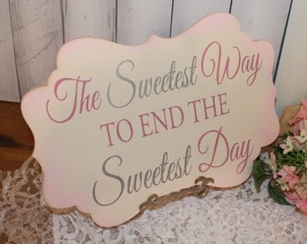 The Sweetest Way to end the Sweetest Day Sign/Candy Bar Sign/Dessert Table/Damask Fleur/U Choose Colors/Great Shower Gift/Blush/Gray