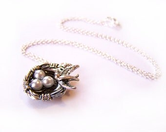 Birds Nest Faux Pearl Pendant Sterling Silver Necklace / Gift for Her