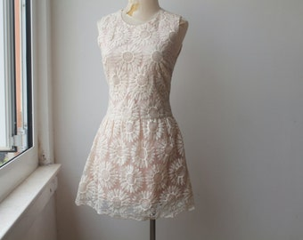 Floral Lace Dress, Organza Dress, Flower Dress, Vintage
