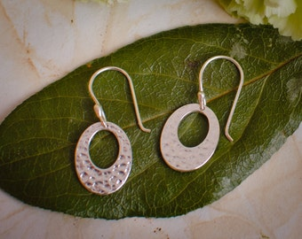 Small Silver Earrings - Silver Hammered Oval Earrings - Simple Earrings for Every Day