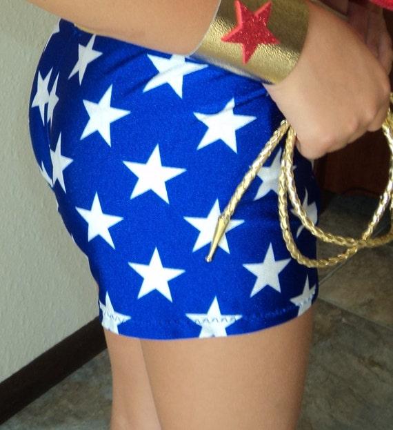 Wonder Woman Spandex Shorts Blue White