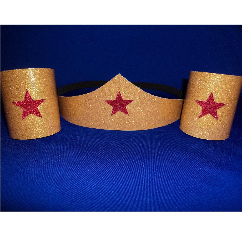Wonder Woman Costume Accessories Set Tiara Headband Cuffs
