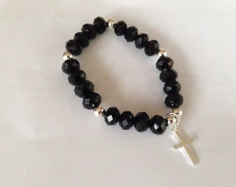 Chinese Black Crystal and Sterling Silver Cross Bracelet
