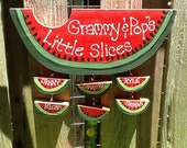 Personalized grandparent watermelon sign garden stake with hanging grandchildren