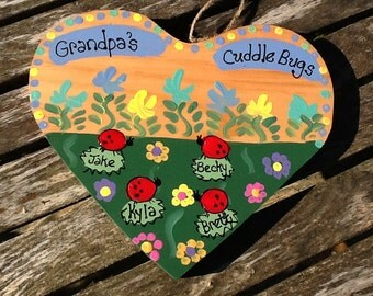 Personalized Grandfather with Grandkids wood heart