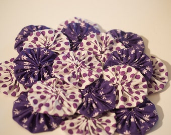 2 Inch Purple Yo-Yos -Handmade-Applique