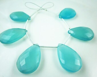 3 Matching Pairs- Aqua Blue Chalcedony Faceted Focal Briolettes -Stones measure- 25x16mm