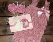 3 piece set! Rose Mauve Ruffled Lace Petti Romper, Shabby Chic Headband, Lace Barefoot Sandals - Toddler, Baby, Girl, Child