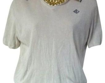 Ralph Lauren Cream Polo Silk Knit Polo Mint Size M Top