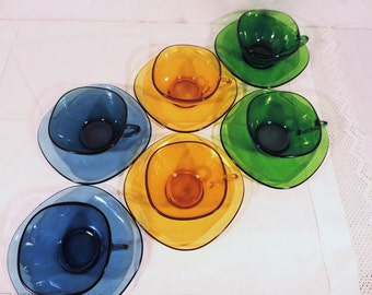 Vereco coffee set of cups and saucers, 6 piece, square multi coloured glass, amber, green, and blue