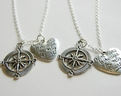 2 Compass You Are Always In My Heart Best Friends BFF Sisters Couples Necklaces
