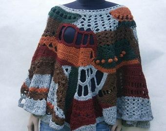 Alavian - Freeform Crochet Poncho, Gray-Brown-Red-Orange-Green