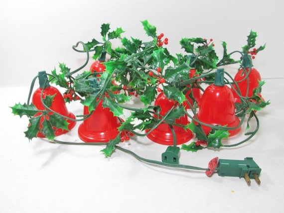 Vintage christmas lighted garland red bell flashing