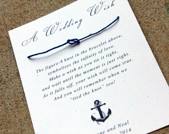 Nautical Wedding Favors, Navy Blue, Sailor Theme Wedding, Wedding Wish Bracelet, Tying the Knot wedding favors, set of 125 Anchor Guest Gift