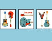 Guitars Boy Nursery Decor, Choose One -Teal Tangerine Red-Orange, One 8 x 10 collage print Rock and Roll Guitar Wall Art