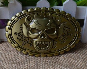 Men's Belt Buckle,Skull Belt Buckle,Oval Metal Belt Buckle,Retro belt buckle,Punk Belt buckle,Best for gift