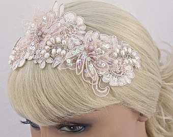 Lace Vintage Inspired Bridal Headpiece/Bridal Headband In Blush Pink With Cultured Pearls, Bridal Hair Accessory