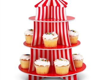Red & White Big Top Circus Tent Cupcake Stand Carnival Theme Treat Stand Dessert Table Candy Bar