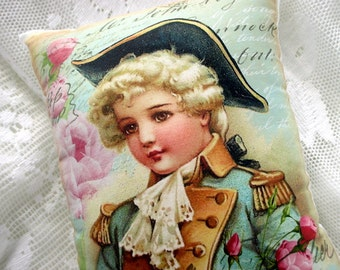 Victorian Boy Pink Roses PILLOW, French Script, Shabby Boy Decor