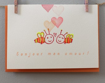 """Card for any occasion- """"bonjour mon amour"""""""