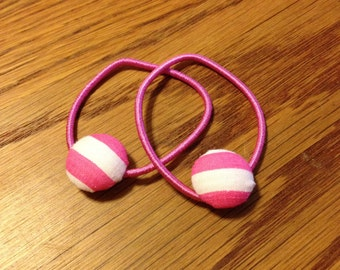 Pink and White Striped Fabric Covered Button Pony Tail Holder