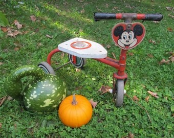 Antique Mickey Mouse Club Antique Tricycle Toy Toddler Riding Toys Antique Walt Disney Collectible Tricycle 3 Wheeler Antique Bike