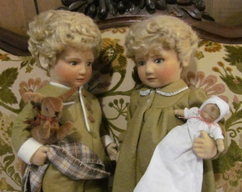 Doll SALE WAS 2995.00 Felt Doll PAIR Twins Lindsey and Michael Felt Doll R John Wright Dolls Limited Edition Doll Mohair Dolls Hand Painted