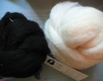 Needle Felt Wool Roving Felt Fiber Black Cream 1.5 oz each by Make Life Cozy
