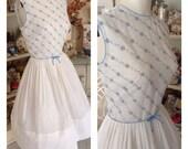 Sweet Feminine Vintage Crisp Cotton and Eyelet Springtime Dress..1950s